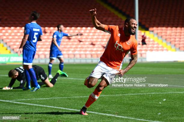 Blackpool's Kyle Vassell celebrates scoring his sides second goal during the Sky Bet League One match between Blackpool and Oldham Athletic at...