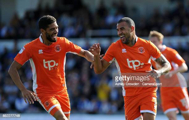 CELE Blackpool's Kyle Vassell celebrates scoring the opening goal during the Sky Bet League One match between Bristol Rovers and Blackpool at...
