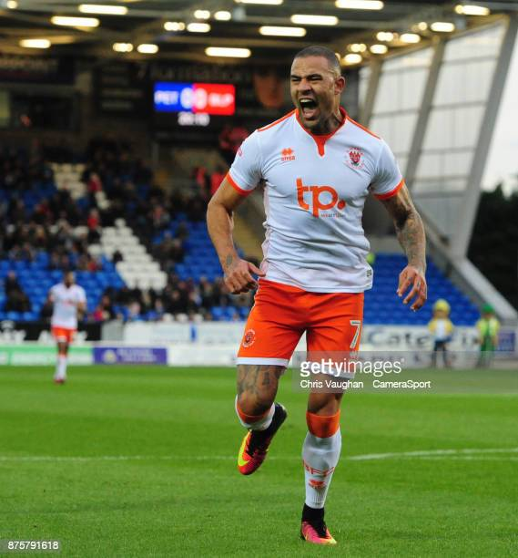 Blackpool's Kyle Vassell celebrates scoring the opening goal during the Sky Bet League One match between Peterborough United and Blackpool at ABAX...