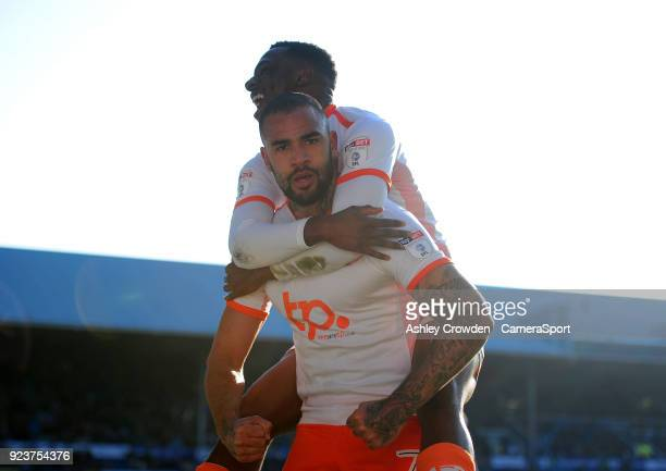 CELE Blackpool's Kyle Vassell celebrates scoring the opening goal during the Sky Bet League One match between Portsmouth and Blackpool at Fratton...