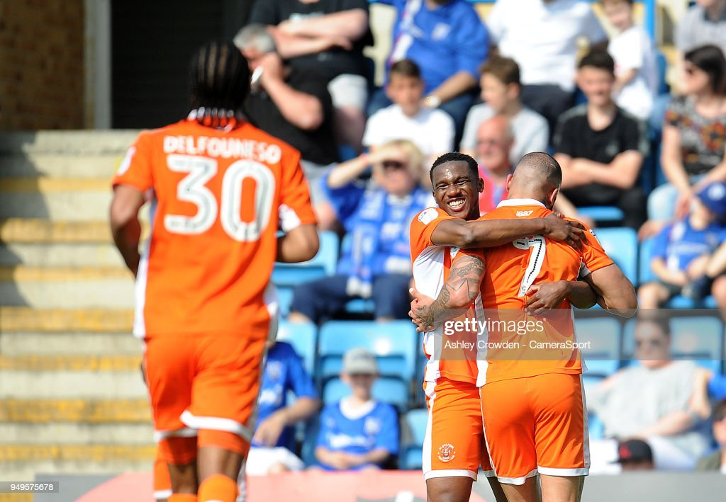 CELE - Blackpool's Kyle Vassell celebrates scoring the opening goal with team mate Viv Solomon-Otabor during the Sky Bet League One match between Gillingham and Blackpool at Priestfield Stadium on April 21, 2018 in Gillingham, .