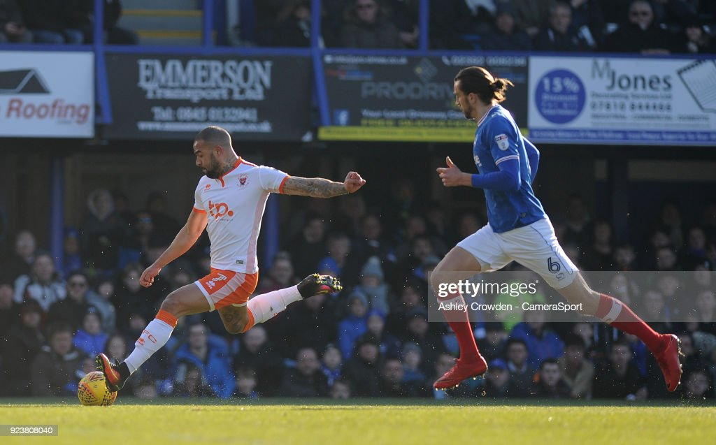 Blackpool's Kyle Vassell has a shot at goal during the Sky Bet League One match between Portsmouth and Blackpool at Fratton Park on February 24, 2018 in Portsmouth, England.