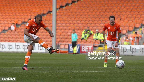 Blackpool's Kyle Vassell scores his second and his side's third goal from a direct free kick during the Sky Bet League One match between Blackpool...