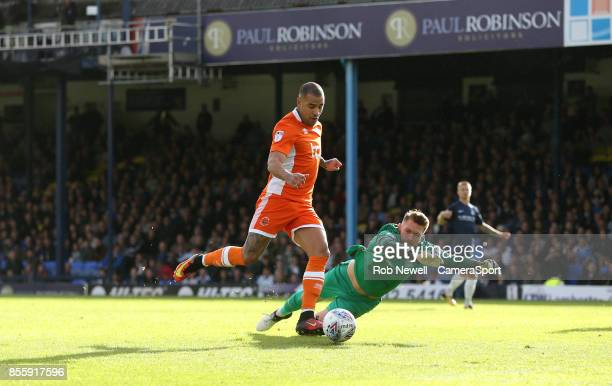 Blackpool's Kyle Vassell scores his sides first goal during the Sky Bet League One match between Southend United and Blackpool at Roots Hall on...