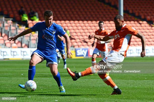 Blackpool's Kyle Vassell scores his sides second goal during the Sky Bet League One match between Blackpool and Oldham Athletic at Bloomfield Road on...