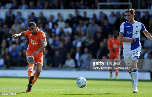 GOAL Blackpool's Kyle Vassell scores the opening goal during the Sky Bet League One match between Bristol Rovers and Blackpool at Memorial Stadium on...