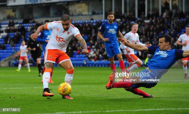 Blackpool's Kyle Vassell scores the opening goal during the Sky Bet League One match between Peterborough United and Blackpool at ABAX Stadium on...