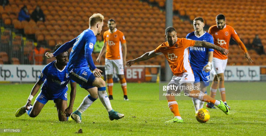 Blackpool's Kyle Vassell scores the opening goal during the Sky Bet League One match between Blackpool and Gillingham at Bloomfield Road on November 21, 2017 in Blackpool, England.