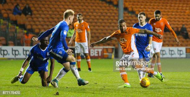 Blackpool's Kyle Vassell scores the opening goal during the Sky Bet League One match between Blackpool and Gillingham at Bloomfield Road on November...