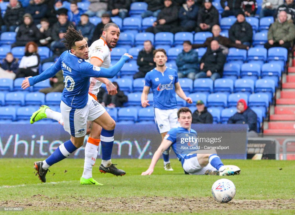 Blackpool's Kyle Vassell scores the opening goal during the Sky Bet League One match between Oldham Athletic and Blackpool at Boundary Park on April 2, 2018 in Oldham, England.
