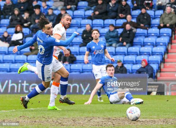 Blackpool's Kyle Vassell scores the opening goal during the Sky Bet League One match between Oldham Athletic and Blackpool at Boundary Park on April...