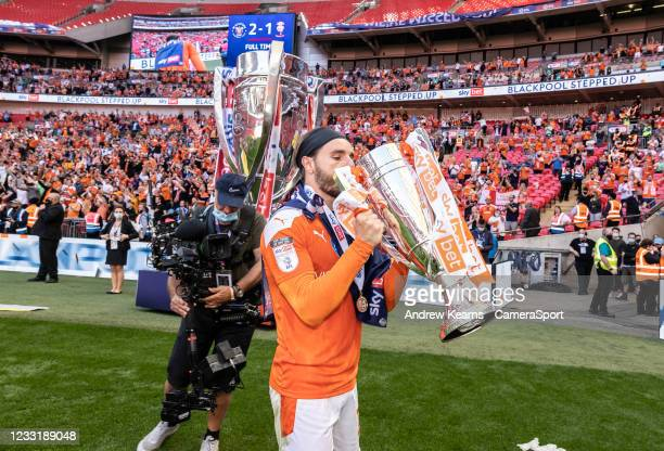 Blackpool's Luke Garbutt celebrates during the Sky Bet League One Play-off Final match between Blackpool and Lincoln City at Wembley Stadium on May...