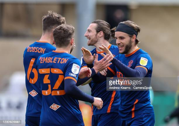 Blackpool's Luke Garbutt celebrates scoring his side's first goal during the Sky Bet League One match between Northampton Town and Blackpool at PTS...