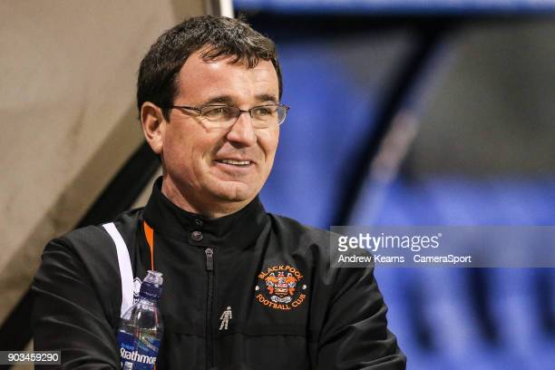 Blackpool's manager Gary Bowyer during the Checkatrade Trophy Third Round match between Shrewsbury Town and Blackpool on January 10 2018 in...