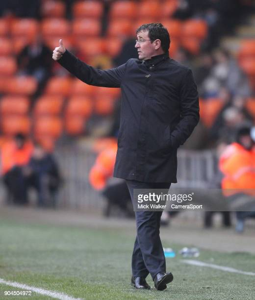 Blackpool's Manager Gary Bowyer during the Sky Bet League One match between Blackpool and Bristol Rovers at Bloomfield Road on January 13 2018 in...