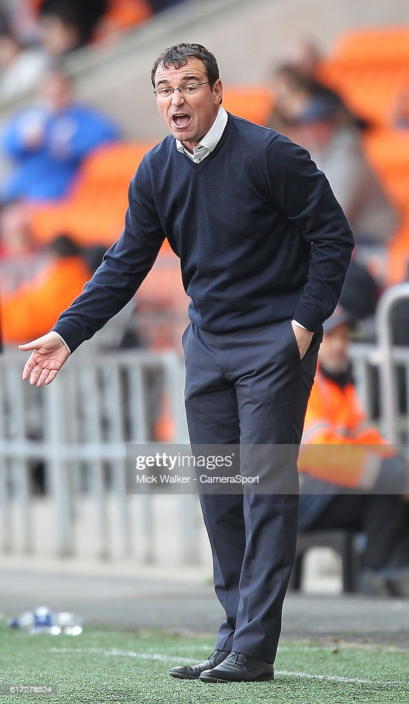 Blackpool's Manager Gary Bowyer during the Sky Bet League Two match between Blackpool and Doncaster Rovers at Bloomfield Road on October 22, 2016 in Blackpool, England.