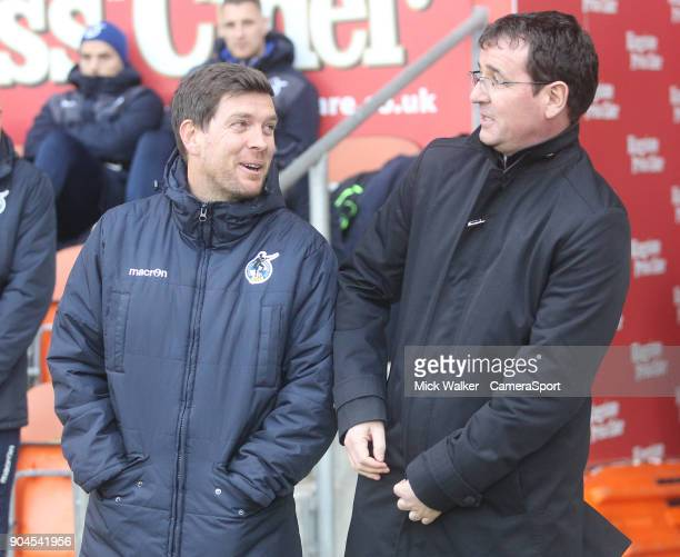 Blackpool's Manager Gary Bowyer greets Bristol Rovers' Manager Darrell Clarke during the Sky Bet League One match between Blackpool and Bristol...