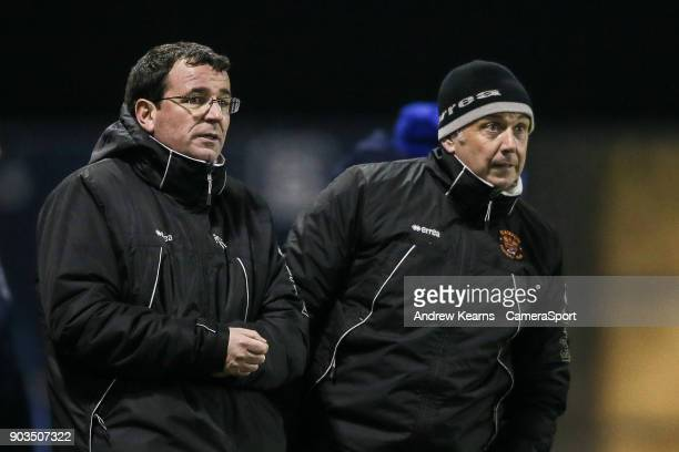 Blackpool's manager Gary Bowyer looks on during the penalty shoot out during the Checkatrade Trophy Third Round match between Shrewsbury Town and...