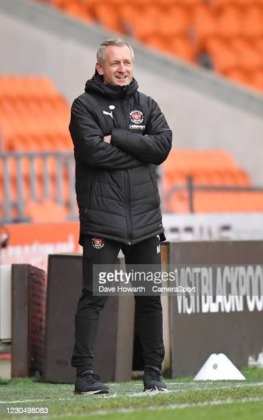 Blackpool's Manager Neil Critchley during the FA Cup Third Round match between Blackpool and West Bromwich Albion at Bloomfield Road on January 9,...