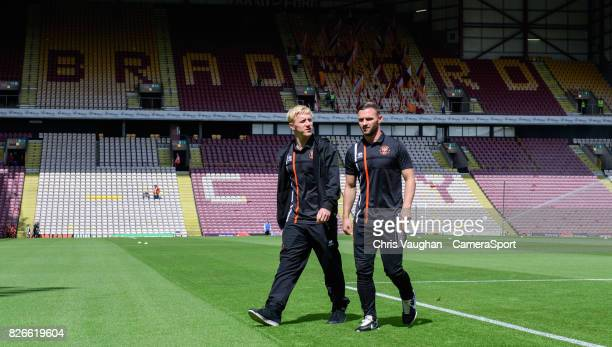 Blackpool's Mark Cullen left with teammate Jimmy Ryan on the pitch prior to the Sky Bet League One match between Bradford City and Blackpool at...