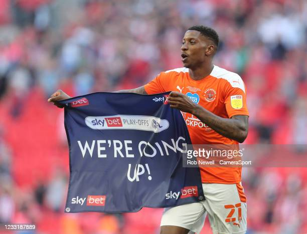 Blackpool's Marvin Ekpiteta celebrates at the end of the match during the Sky Bet League One Play-off Final match between Blackpool and Lincoln City...