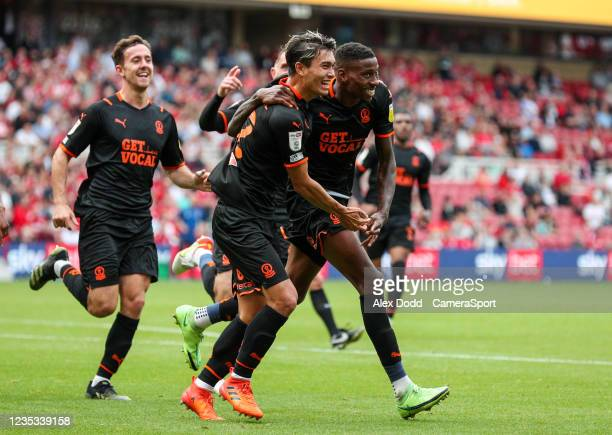 Blackpool's Marvin Ekpiteta celebrates his side's equalising goal to make the score 1-1 during the Sky Bet Championship match between Middlesbrough...