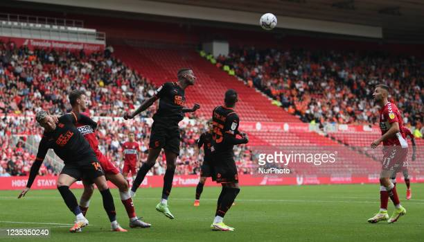 Blackpool's Marvin Ekpiteta heads a cross away from goal during the Sky Bet Championship match between Middlesbrough and Blackpool at the Riverside...