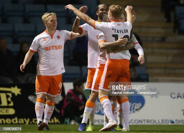 Blackpool's Nathan Delfouneso celebrates scoring his side's first goal during the Sky Bet League One match between Gillingham and Blackpool at...