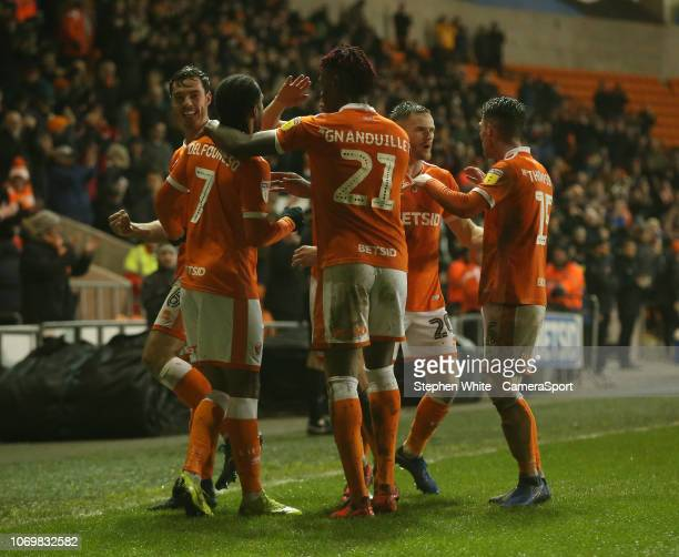 Blackpool's Nathan Delfouneso celebrates scoring his side's second goal during the Sky Bet League One match between Blackpool and Charlton Athletic...