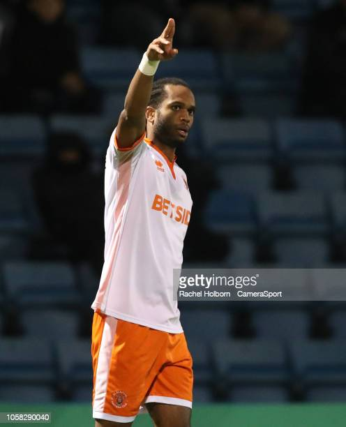 Blackpool's Nathan Delfouneso celebrates scoring the opening goal during the Sky Bet League One match between Gillingham and Blackpool at Priestfield...