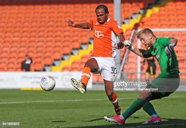 Blackpool's Nathan Delfouneso during the Sky Bet League One match between Blackpool and AFC Wimbledon at Bloomfield Road on September 2 2017 in...