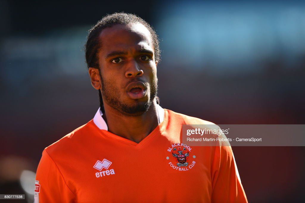 Blackpool's Nathan Delfouneso looks on during the Sky Bet League One match between Blackpool and Milton Keynes Dons at Bloomfield Road on August 12, 2017 in Blackpool, England.