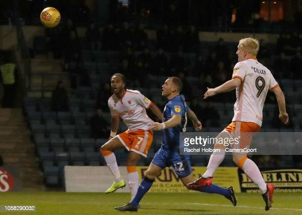 Blackpool's Nathan Delfouneso scores his side's first goal during the Sky Bet League One match between Gillingham and Blackpool at Priestfield...