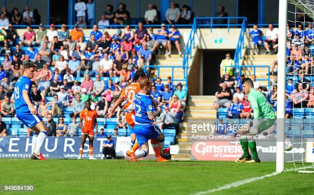 GOAL Blackpool's Nathan Delfouneso scores his side's second goal during the Sky Bet League One match between Gillingham and Blackpool at Priestfield...