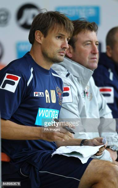 Blackpool's new assistant coach Ashley Westwood during the game against Bolton during the npower Football League Championship match at Bloomfield...