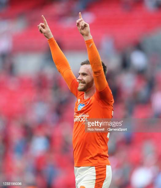 Blackpool's Oliver Turton celebrates at the end of the match during the Sky Bet League One Play-off Final match between Blackpool and Lincoln City at...