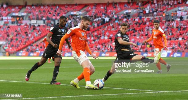 Blackpool's Oliver Turton during the Sky Bet League One Play-off Final match between Blackpool and Lincoln City at Wembley Stadium on May 30, 2021 in...