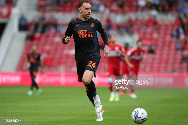 Blackpool's Richard Keogh during the Sky Bet Championship match between Middlesbrough and Blackpool at the Riverside Stadium, Middlesbrough on...