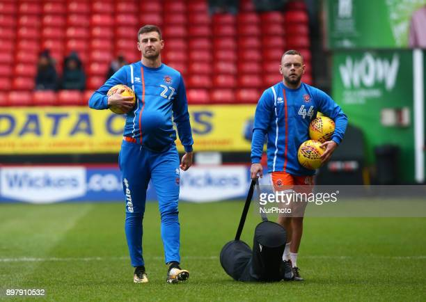 LR Blackpool's Scott Quigley and Blackpool's Jay Spearing during Sky Bet League One match between Charlton Athletic against Blackpool at The Valley...