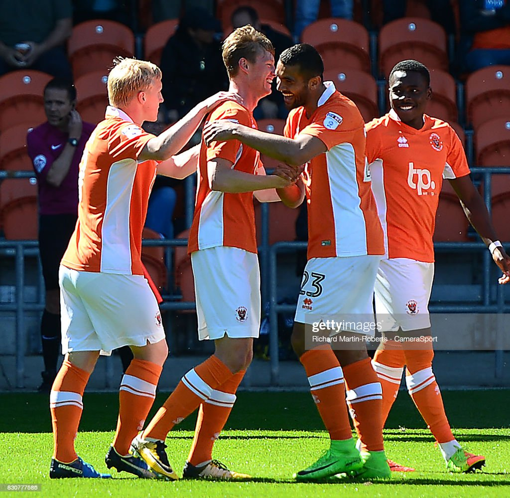 Blackpool's Sean Longstaff celebrates scoring his sides first goal with is team-mates during the Sky Bet League One match between Blackpool and Milton Keynes Dons at Bloomfield Road on August 12, 2017 in Blackpool, England.