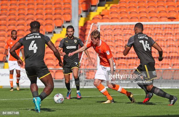 Blackpool's Sean Longstaff scores his side's first goal during the Sky Bet League One match between Blackpool and AFC Wimbledon at Bloomfield Road on...