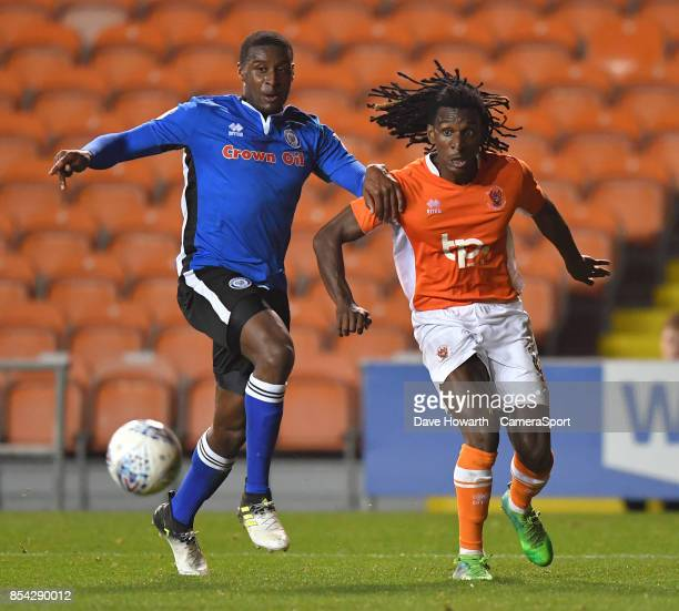 Blackpool's Sessi D'Almeida and Rochdale's Brian BarryMurphy battle for the ball during the Sky Bet League One match between Blackpool and Rochdale...