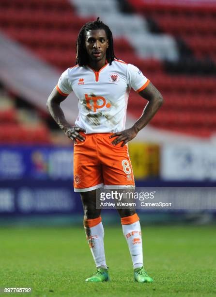 Blackpool's Sessi D'Almeida during the Sky Bet League One match between Charlton Athletic and Blackpool at The Valley on December 23 2017 in London...