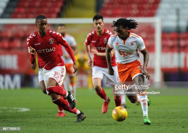 Blackpool's Sessi D'Almeida holds off the challenge from Charlton Athletic's Ezri Konsa during the Sky Bet League One match between Charlton Athletic...
