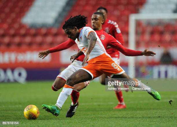 Blackpool's Sessi D'Almeida is fouled by Charlton Athletic's Ezri Konsa during the Sky Bet League One match between Charlton Athletic and Blackpool...