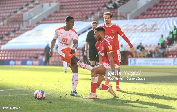 Blackpool's Sullay Kaikai with a first half shot blocked by Charlton Athletic's Akin Famewo during the Sky Bet League One match between Charlton...