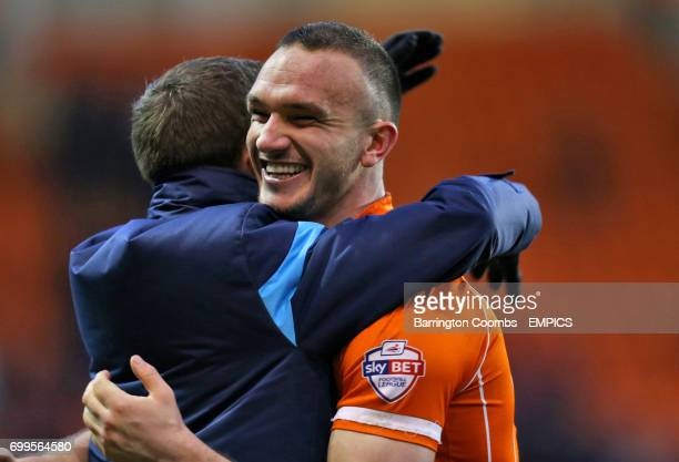 Blackpool's Tom Aldred celebrates after the game