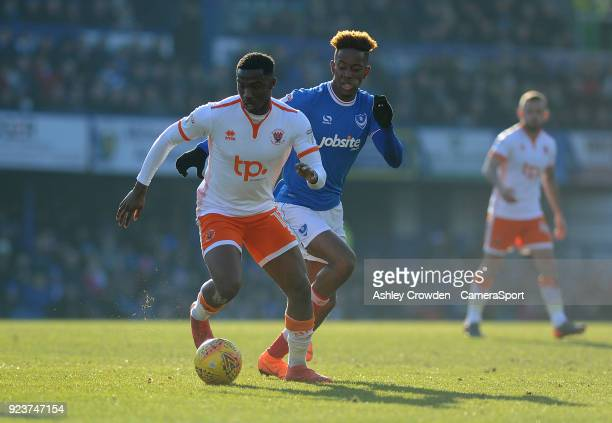 Blackpool's Viv SolomonOtabor vies for possession with Portsmouth's Jamal Lowe during the Sky Bet League One match between Portsmouth and Blackpool...