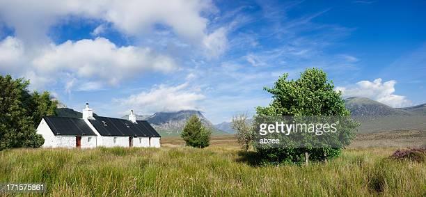 blackrock cottage glencoe panorama - blackrock stock pictures, royalty-free photos & images