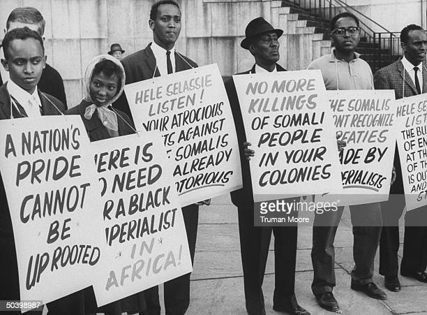 Blacks protesting visit to United Nations by Emperor Haile Selassie of Ethiopia
